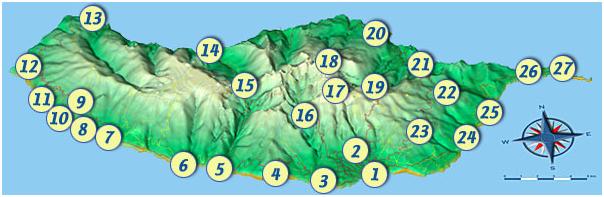 Landkarte von Madeira mit wichtigen Orten