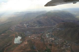 Luftbild der Argyle Diamantenmine
