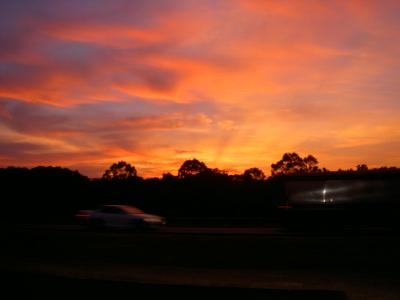 Abendrot auf dem Weg nach Sidney