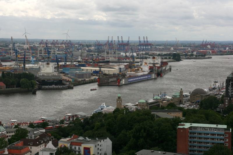 Blick auf den Containerhafen