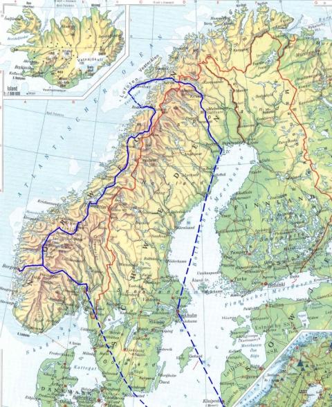 Landkarte mit Reiseroute